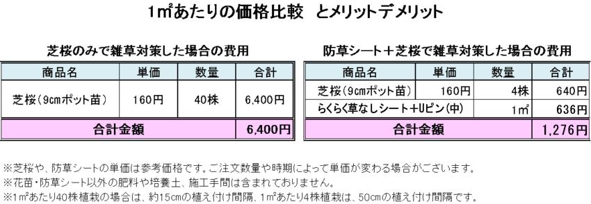 芝桜1㎡あたりの価格比較20191001-850x294