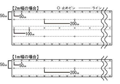 日本製大面積専用草なしシート_ピン打設位置