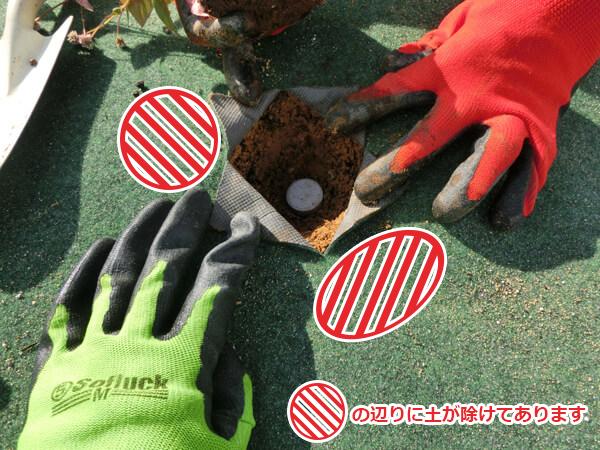 4穴を掘りコロロングを入れる
