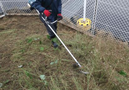 04草刈機で施工場所の雑草を刈っていきます