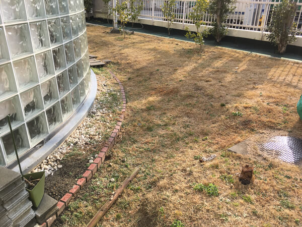 施工前の現場_人工芝とマルチの施工事例