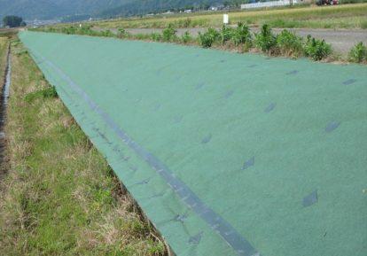 多面的機能支払交付金事業の防草シート施工事例(農道土手)