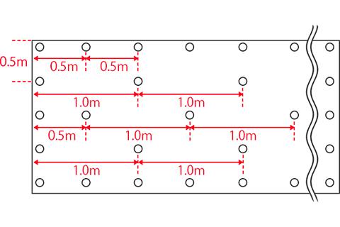 2m幅防草シートのピンの打設位置_2m幅