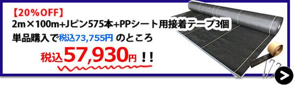 大面積2m×100m+Jピン575本+PPシート用接着テープ3個【20%OFF】→購入はこちら!